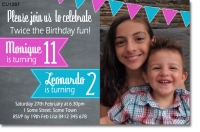CU1297 - Boy and girls joint birthday Invitation