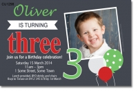 CU1298 - Balloon Birthday Invitation - Boys