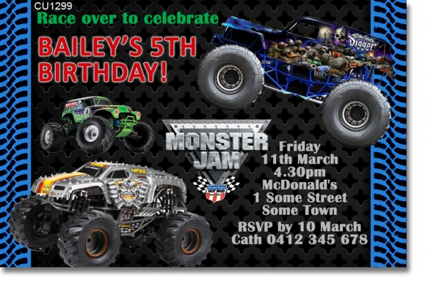 CU1299 - Boys Monster Jam Birthday Invitation