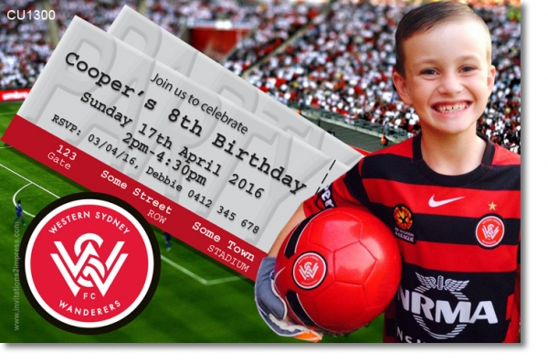 CU1300 - Western Sydney Wanderers Birthday Invitation