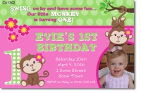 CU1302 - Girls Monkey Birthday Invitation