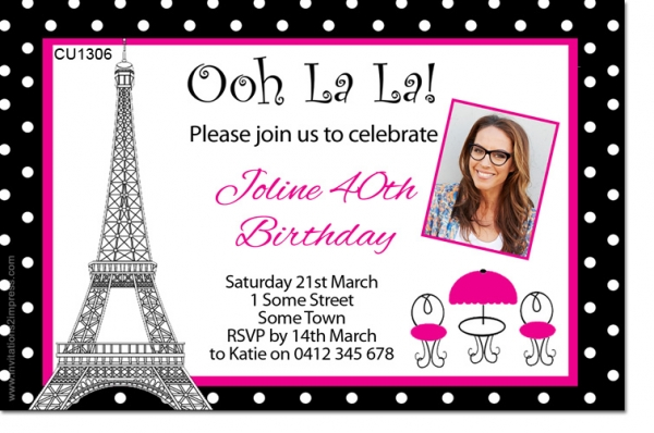 CU1306 - French Themed Ladies Birthday Invitation