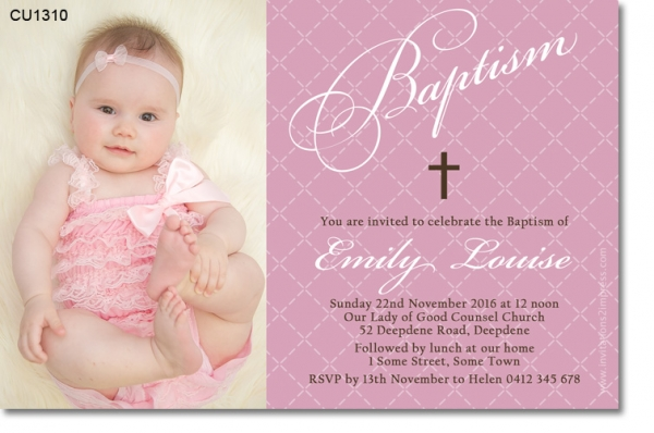CU1310 - Girls Elegant Pink And White Baptism Invitation