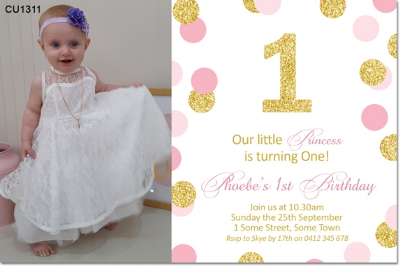 CU1311 - Girls Pink And Gold 1st Birthday Invitation