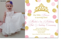 CU1312 - Girls Pink And Gold 1st Birthday And Naming Day Invitat