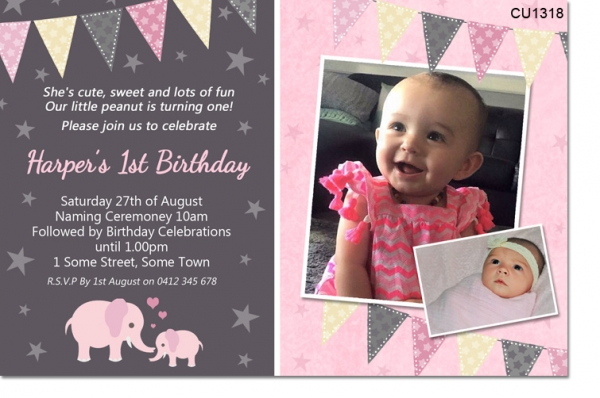 CU1318 - Little Peanut 1st Birthday Invitation With Elephants