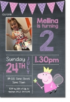 CU1319 - Girls Chalkboard Peppa Pig Photo Invitation