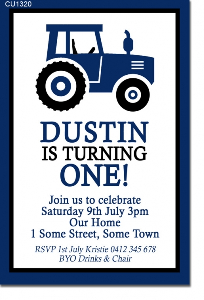 CU1320 - Truck Tractor Birthday Invitation