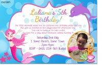 CU1321 - Under The Sea Mermaid Photo Birthday Invitation