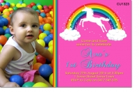 CU1323 - Rainbow And Unicorn Birthday Photo Invitation