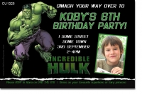 CU1325 - The Incredible Hulk Birthday Photo Invitation