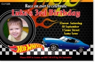 CU1326 - Hot Wheels Birthday Photo Invitation