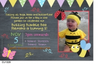 CU1329 - Bumble Bee Birthday Photo Invitation