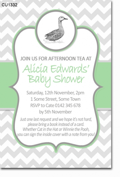 CU1332 - Mother Duck Baby Shower Invitation