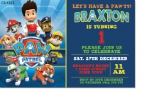 CU1333 - Paw Patrol Birthday Photo Invitation