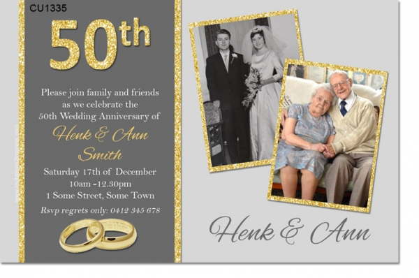 CU1335 - 50th Golden Wedding Anniversary Invitation