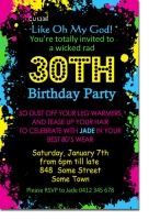 CU1336 - 80s Themed Fluro Birthday Invitation