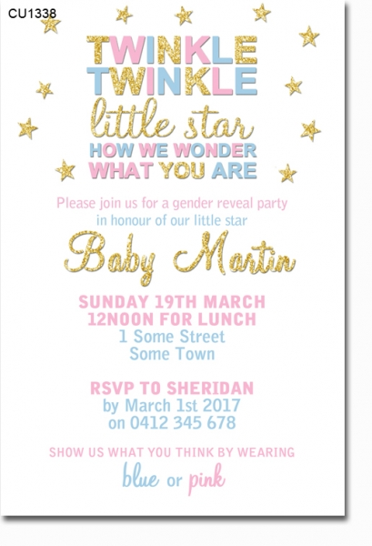 CU1338 - Twinkle Twinkle Little Star Baby Shower Invitation