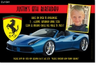 CU1341 - Ferrari Car Birthday Invitation