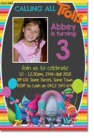 CU1342 - Girls Chalkboard Trolls Photo Invitation