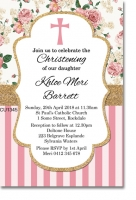 CU1345 - Rose And Gold Glitter Christening Invitation