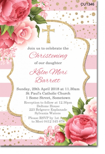 CU1346 - Rose And Gold Glitter Christening Invitation