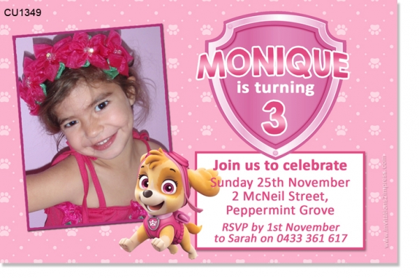 CU1349 - Girls Paw Patrol Birthday Invitation With Skye