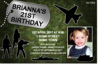 CU1353 - Adults Armed Forces Dress Up Birthday Invitation