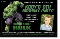 CU1356 - The Incredible Hulk Birthday Photo Invitation