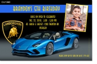 CU1360 - Blue Lamborghini Birthday Invitation