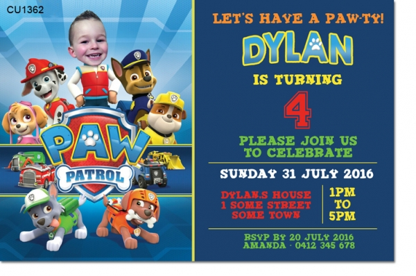 CU1362 - Paw Patrol Photo Birthday Invitation