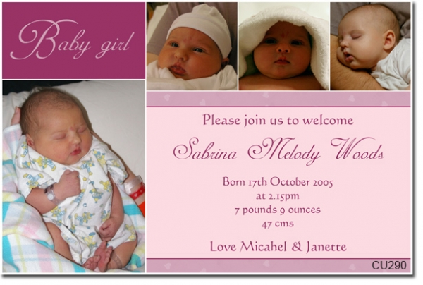 CU New Baby Sabrina Baby Girl Announcement Baby - Baby welcome party invitation templates