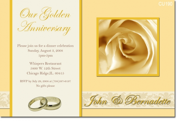Golden Wedding Invitation Template Ideas