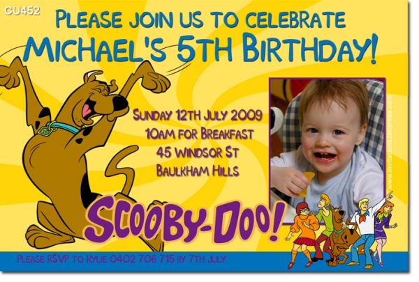 CU452 Themed Birthday Scooby Doo Boys Themed Birthday – Scooby Doo Party Invitations