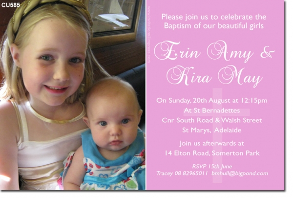CU585 Joint Christening Pink Twins Joint Birthday – Dual Birthday Party Invitations