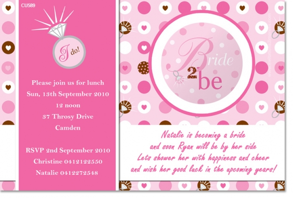 CU589 - Bride to be - Rings - Hens Night & Kitchen Tea Invitations ...