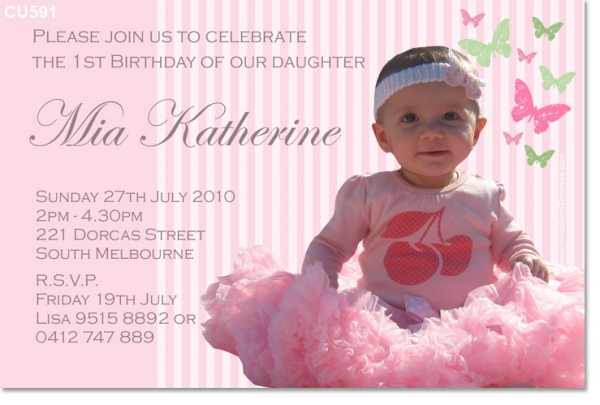 CU591 Pink Butterfly Birthday Girls Birthday Invitations – Butterfly Invitations Birthday