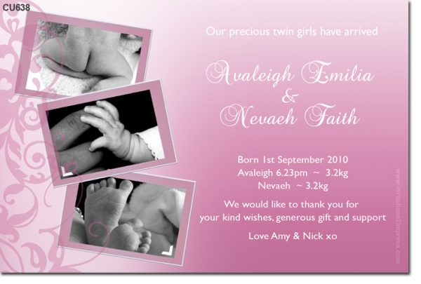 CU638 - Twin Girls Baby Announcement