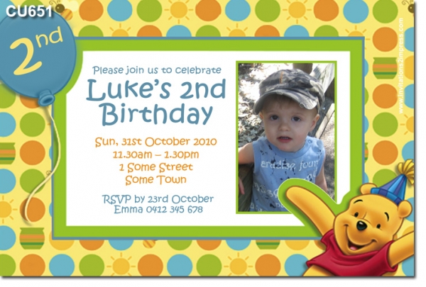 CU Themed Birthday Winnie The Pooh Boys Themed Birthday - Birthday invitation templates winnie pooh