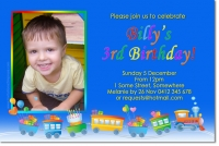 cu672 - boys birthday invitation - train - boys birthday, Birthday invitations