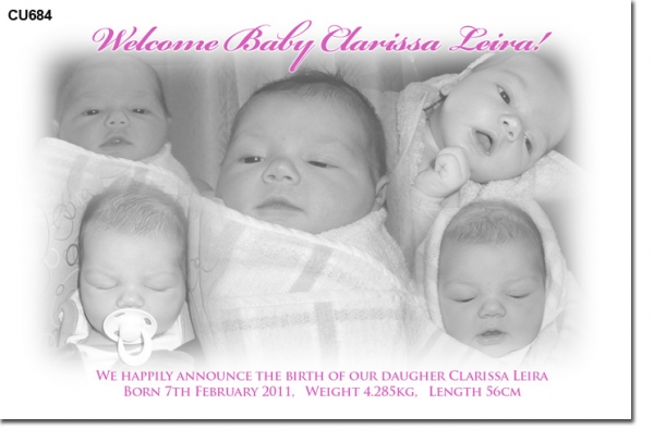 CU684 - Baby Girl Announcement Card Multiple Photos