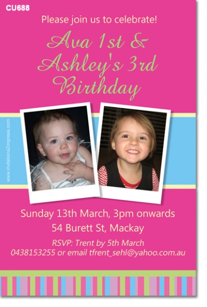 CU688 Girls Joint Birthday Girls Birthday Invitations – Dual Birthday Party Invitations