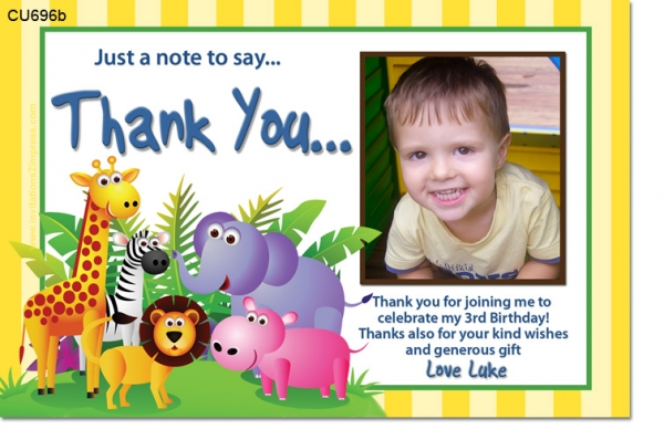 CU696b Jungle Party Birthday Invitation Thank You ThankYou – Thank You for the Birthday Card