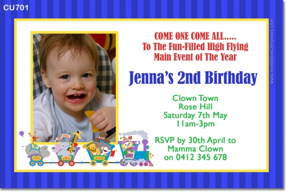 CU701 - Boys Circus Themed Invitation