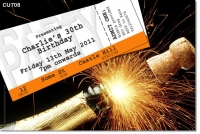 CU708 - Adult Birthday Invitation - Champagne and Fireworks