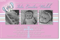 CU714 - Girls Butterfly Baby Announcement Photo Card