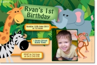 CU717 - Kids Jungle Themed Childrens Birthday Invitation