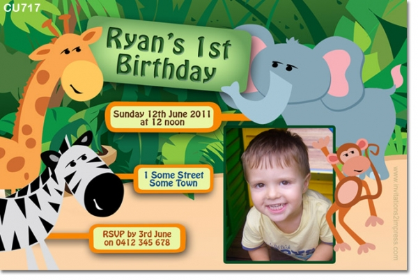 Cu717 kids jungle themed childrens birthday invitation girls cu717 kids jungle themed childrens birthday invitation filmwisefo