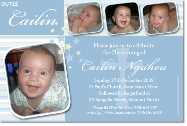 CU722 - Boys Star and Cross Christening Baptism Invitation