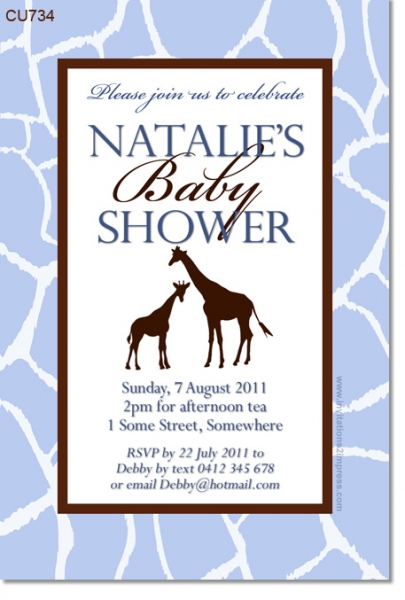 CU734 - Giraffe Baby Shower Invitation